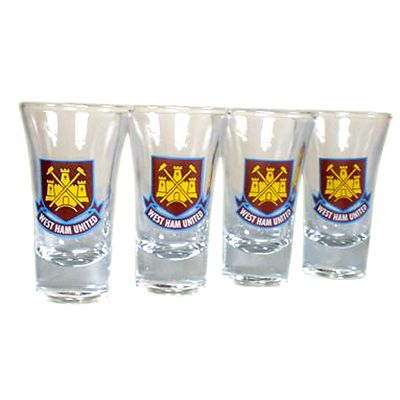 West Ham United FC 4 Pack Shot Glasses