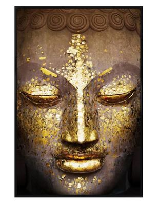 The Face of the Buddha Gloss Black Framed Speckled in Gold Poster