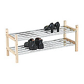 2-Tier Stackable Shoe Rack - Natural