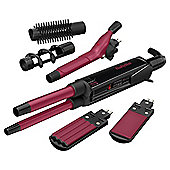 BaByliss 2800DU 12 in 1 Multistyler with Hair Straightener Plate, Crimper and Styling Tongs - Black / Red