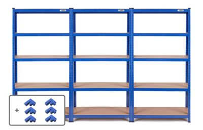VonHaus 3 Bay 1.8m 5 Tier Heavy Duty Industrial Steel Boltless Racking - Massive 3,975kg Capacity