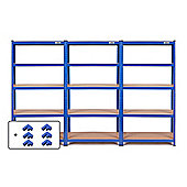 VonHaus 3 Bay 1.8m 5 Tier Heavy Duty Industrial Steel Boltless Racking - Massive 3,975kg Capacity