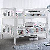 Happy Beds Oslo Wood Kids Quadruple Sleeper Bunk Bed with 2 Memory Foam Mattresses - White - 4ft Small Double