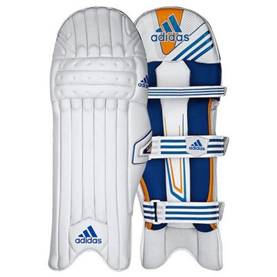 adidas CX11 Kids Cricket Batting Pads White/Blue - Left Hand Boys