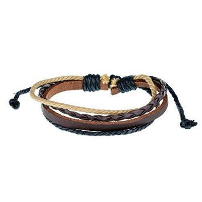 Urban Male Saranda Beach Style Brown and Black Leather and Cord Men's Bracelet