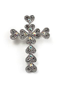 Clear Swarovski Crystal Cross Brooch (Silver Tone)