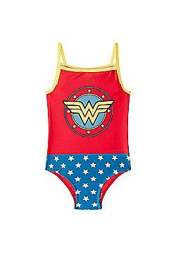 DC Comics Wonder Woman Supergirl Batman Girls Swim Suit Costume - Red