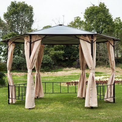 Outsunny 2m Hexagonal Patio Metal Gazebo Sun Shade Tent w/Side Wall Curtain