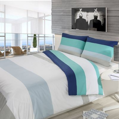 Homescapes Navy, Aqua, Grey and White Horizontal Thick Stripe Duvet Cover Set, Double