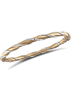 Ladies 9ct Yellow and White gold Hinged Twist Bangle Bracelet