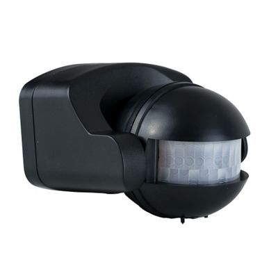 Outdoor IP44 Wall Mounted PIR Motion Sensor in Black