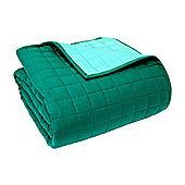 Homescapes Cotton Quilted Reversible Bedspread Teal & Blue, 200 x 200 cm