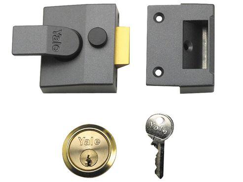 Yale Locks P85 Deadlocking Nightlatch 40mm Backset DMG Finish Satin Chrome Cylinder Visi