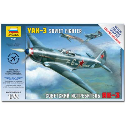 Zvezda 7301 Yak-3 Soviet Fighter Snap Fit Aircraft Model Kit 1:72