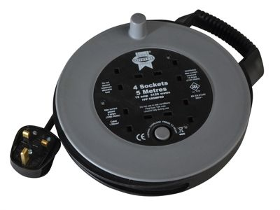 Faithfull Slim Cable Reel 240 Volt 5 Metre 13 Amp 4 Socket Thermal Cut Out