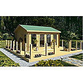 4.5m x 3.5m (15ft x 12ft) Amersham Reverse Apex Log Cabin Wooden Log Cabin Double Glazing (70mm Wall Thickness)