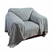 Homescapes Nirvana Slub Cotton Grey Throw, 225 x 255 cm