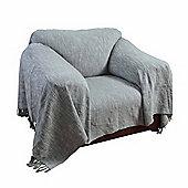 Homescapes Nirvana Slub Cotton Grey Throw, 225 x 255 cm