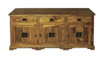 Elements Jaitu Block Three Door Sideboard in Warm Lacquer