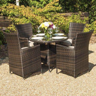 Maze Rattan - LA 4 Seat Dining Set - 74cm Round - Brown