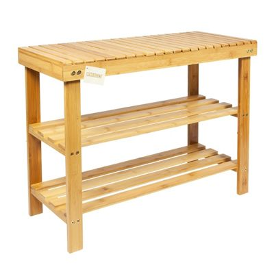 Woodluv 2 Tier Bamboo Shoe Rack With Bench Style Seating