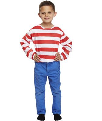 Children's Fancy Dress Red & White Stripe Long Sleeve Top-Large 10-12 Years