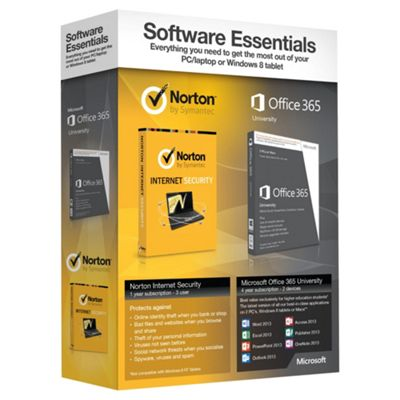 Software Essentials - Microsoft Office 365 University and Norton Internet Security 2013 (1 Year, 3 User) Bundle.