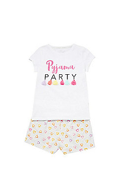 F&F Tassel Pyjama Party Short Pyjamas - White Multi