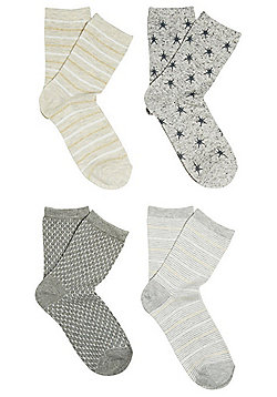 F&F 4 Pack of Sparkle and Star Print Ankle Socks - Grey