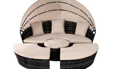 Comfy Living Rattan Sun Island bed 180cm with Cushions BLACK