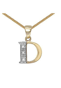 Jewelco London 9 Carat Yellow Gold Elegant Diamond-Set Pendant on an 18 inch Pendant Chain Necklace - Inital D