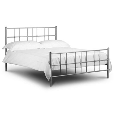 Happy Beds Braemar Metal High Foot End Bed with Memory Foam Mattress - Silver - 3ft Single