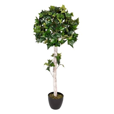 Homescapes Green 4 ft Ivy Ball Artificial Tree with Silk Leaves and Frosted Trunk
