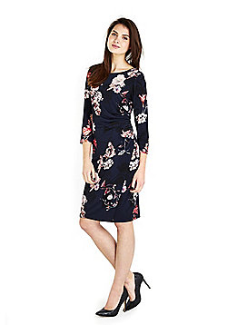 Wallis Blossom Print Pencil Dress - Navy