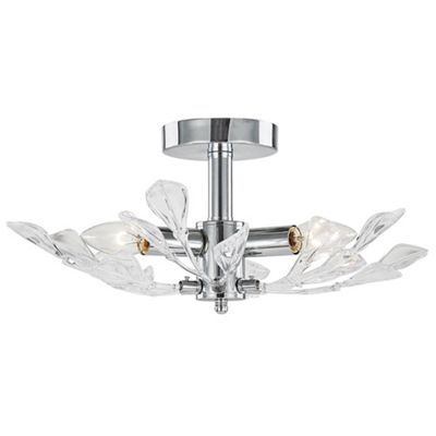 Contemporary semi flush chrome ceiling light with large clear acrylic leaves