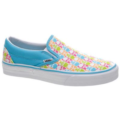Vans Classic Slip On Blue Atoll/Fandango Pink Skull Checkerboard Shoe 58624