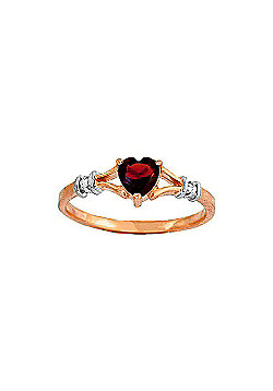 QP Jewellers Diamond & Garnet Heart Ring in 14K Rose Gold