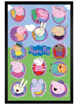 Peppa Pig Black Wooden Framed Multi Characters Poster 61x91.5cm