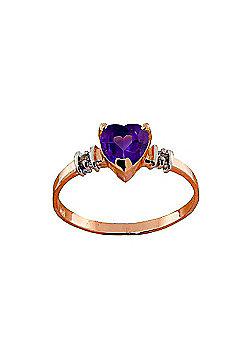 QP Jewellers Diamond & Amethyst Heart Ring in 14K Rose Gold - Size K