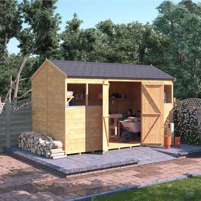 12x6 Tongue and Groove Wooden Workshop Garden Shed Double Door Windowed Reverse Apex Premium Roof Floor Felt 12ftx6ft