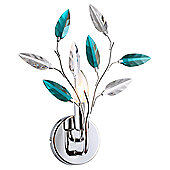 Modern Polished Chrome Wall Light with Clear and Teal Acrylic Leaves