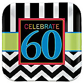 60th Birthday Dessert Plates - 17cm Paper Party Plates - 8 Pack