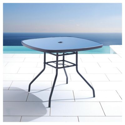 Seville Round Glass & Steel Garden Table, Charcoal
