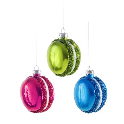 Set of Three Brightly Coloured Macaron Christmas Bauble Decorations