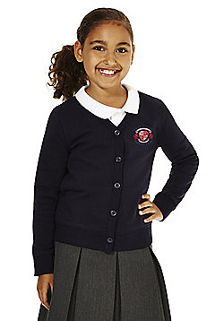Girls Embroidered Cotton Blend School Sweatshirt Cardigan with As New Technology - Navy blue