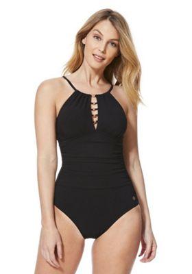 F&F Petite Luxury Swimwear Ladder Detail High Neck Swimsuit Black 6