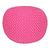 EHC Braided Hand Knitted Round Foot Stool Pouffe, Hot Pink