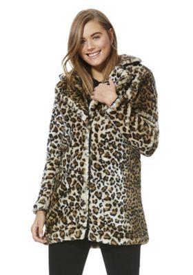 Vero Moda Leopard Print Faux Fur Jacket Brown Multi M