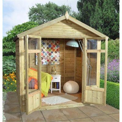 7 x 5 Rock Tetbury Summerhouse - Assembled Garden Wooden Summerhouse 7ft x 5ft (2.14m x 1.54m)