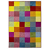Brights Grid Multi Coloured Rug - 80x150cm